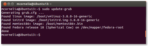 update-grub dual boot fedora and ubuntu